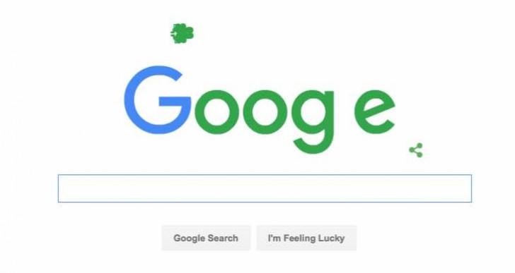 Today's Google Doodle for St Patrick's Day 2016