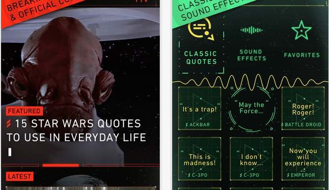 Star Wars app with The Force Awakens release countdown clock