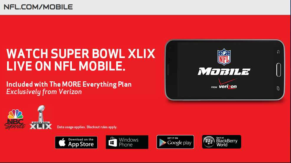 Super Bowl 2015 live stream for phones