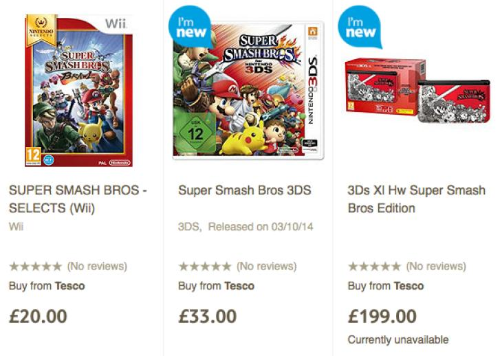 Super Smash Bros UK price at tesco