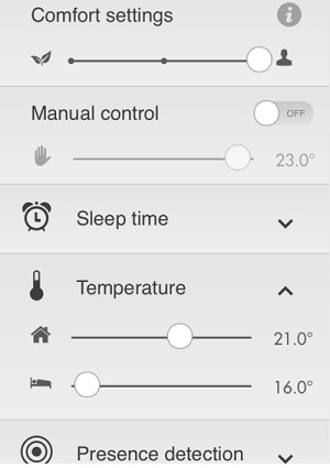 Tado app setting
