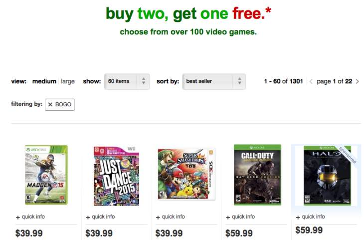 Target offering Nov games event
