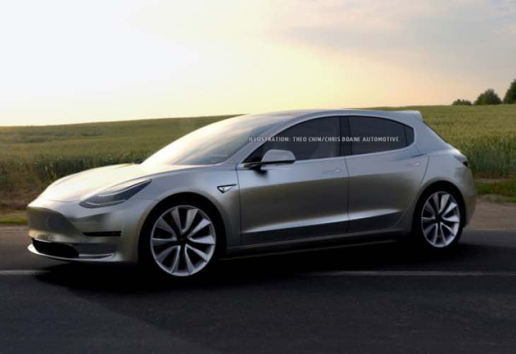 Tesla Model 3 hatchback for larger trunk variant