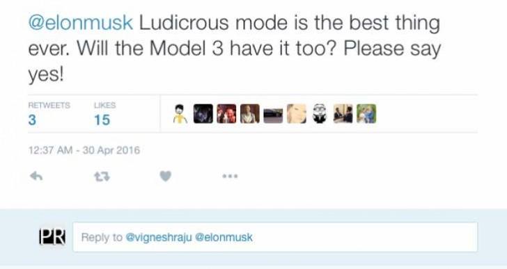 Tesla Model 3 Ludicrous Mode confirmed by Musk