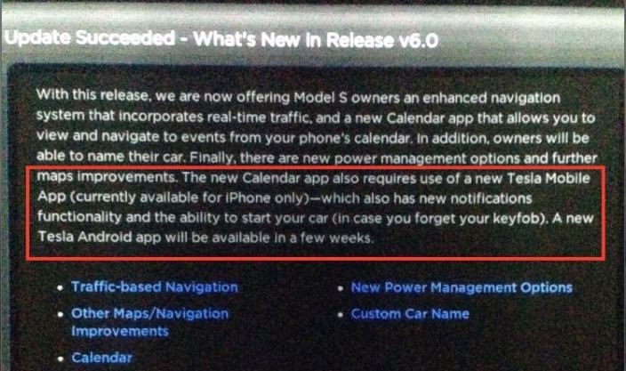 Tesla Model S software update 6.0 enables new features