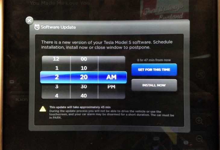Tesla Model S sofware update