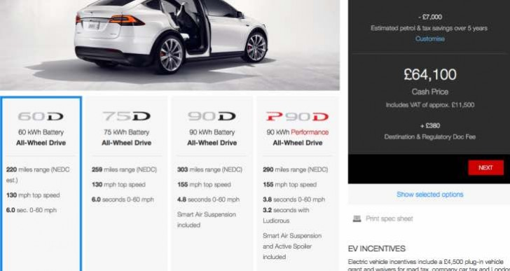 Tesla Model X 60D UK price with compromised range