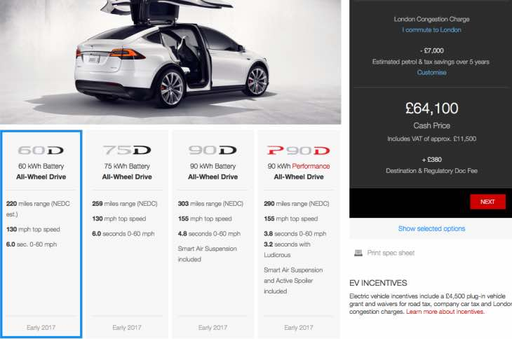 Tesla Model X 60D UK price