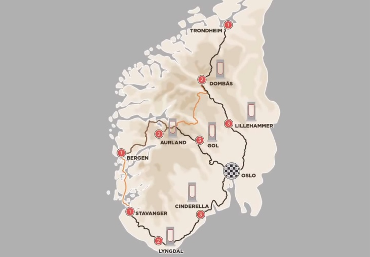 Tesla's Supercharger network map in Norway