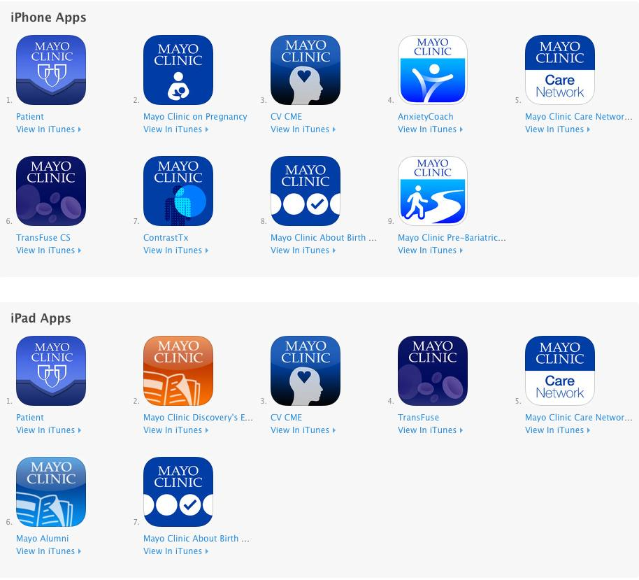 The Mayo Clinic iPad, iPhone apps in iOS 7