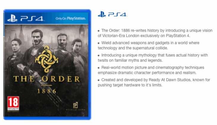 The Order 1886 price at GAME UK