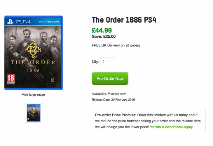 The Order 1886 price at Zavvi