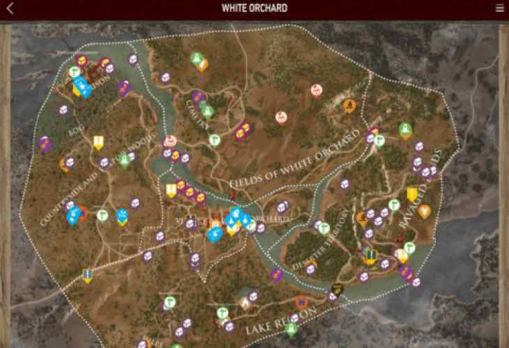 The Witcher 3 interactive companion map app