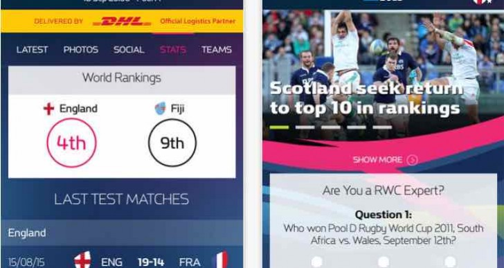Today's Rugby World Cup 2015 fixtures and results via app