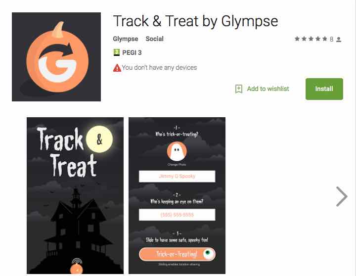 Trick or Treat tracker app for your kids