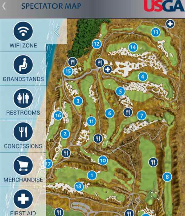 US Open Golf Schedule Leaderboard For IPhone And Android - Us open course map