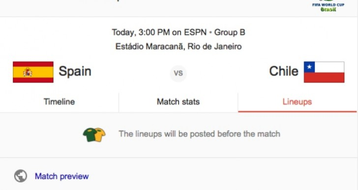 Univision Deportes app with Spain vs. Chile coverage in Spanish