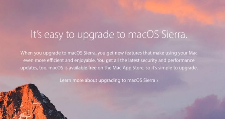 Upgrade to macOS Sierra, Apple now lists why