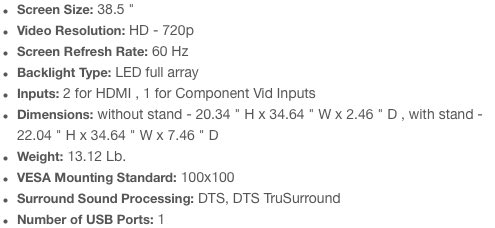 VIZIO 39-inch D390-B0 specs
