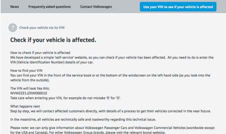 VW models by VIN for emissions recall