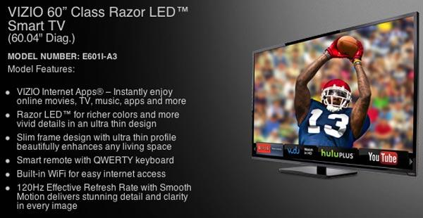 Vizio 60-inch LED Smart TV visual review – Product Reviews Net