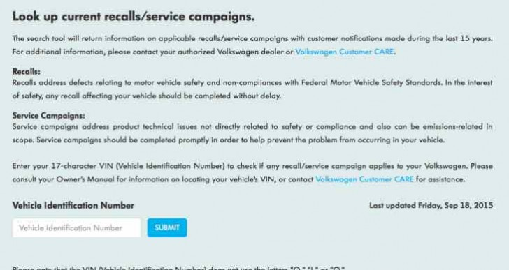 Volkswagen diesel recall check tool for model list update