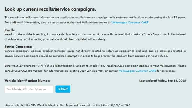 Volkswagen diesel recall check tool