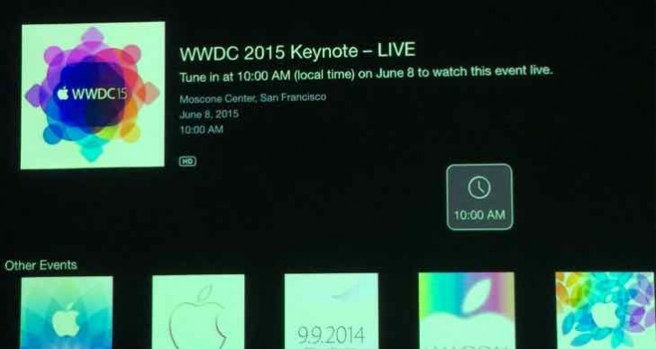 WWDC 2015 keynote live stream icon on Apple TV
