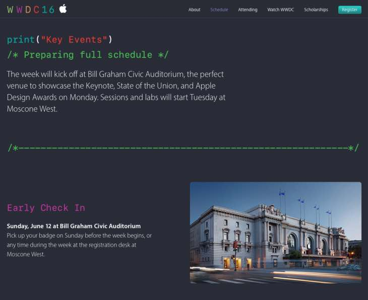 WWDC 2016 schedule of events