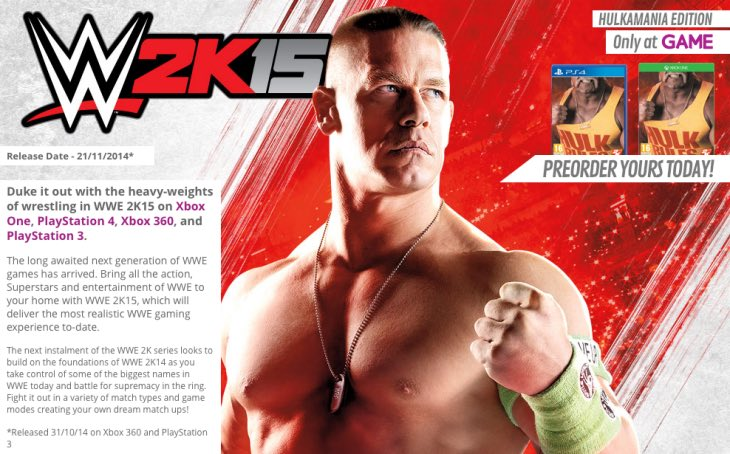 WWE 2K15 for PS4, Xbox One at GAME