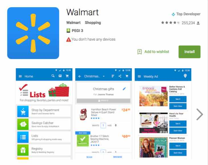 Walmart App update for Cyber Monday