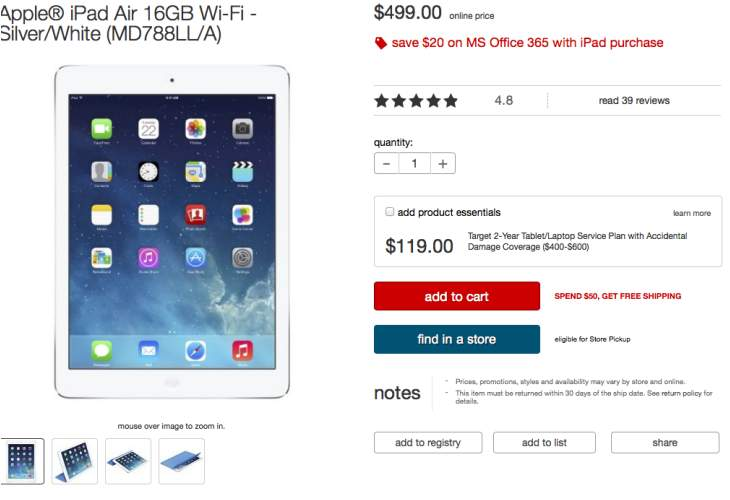 Walmart's iPad Air price before Air 2