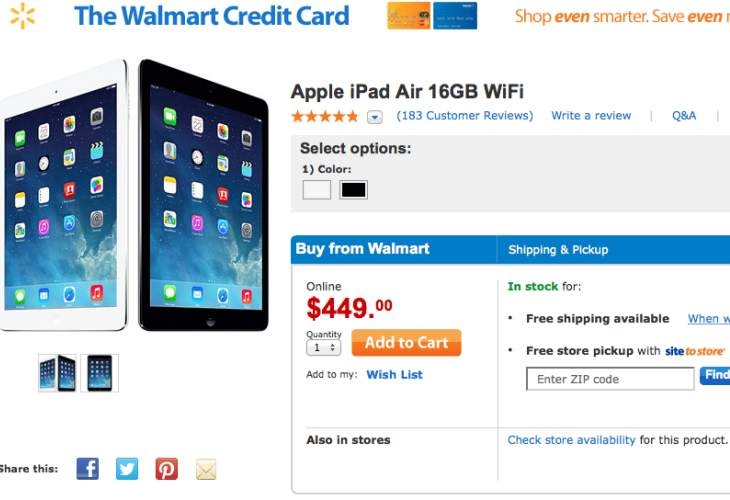Walmart's iPad Air price