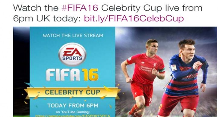 FIFA 16 Celebrity Cup live stream for UK launch