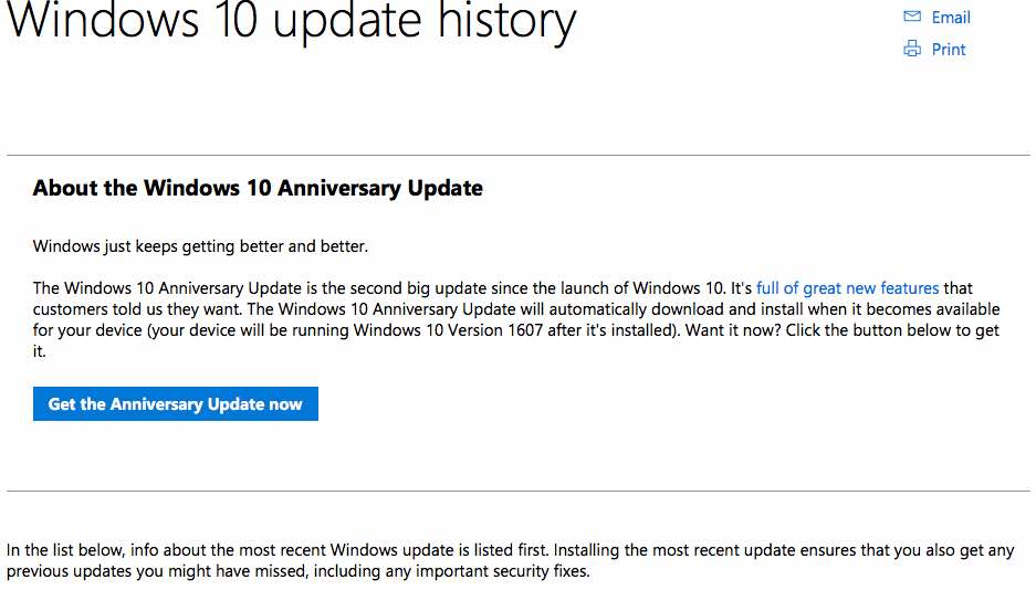 Windows 10 Anniversary Update download options