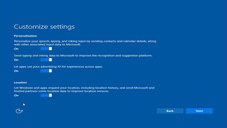 Windows 10 privacy options
