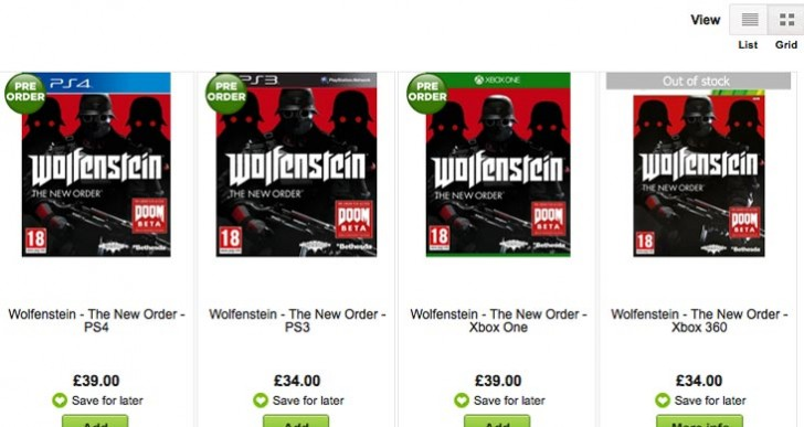Wolfenstein: The New Order price at Tesco vs. Asda, GAME