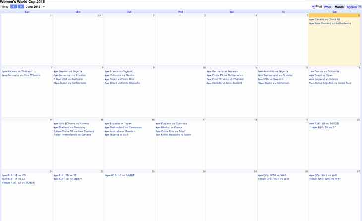 Women's World Cup 2015 Google Calendar