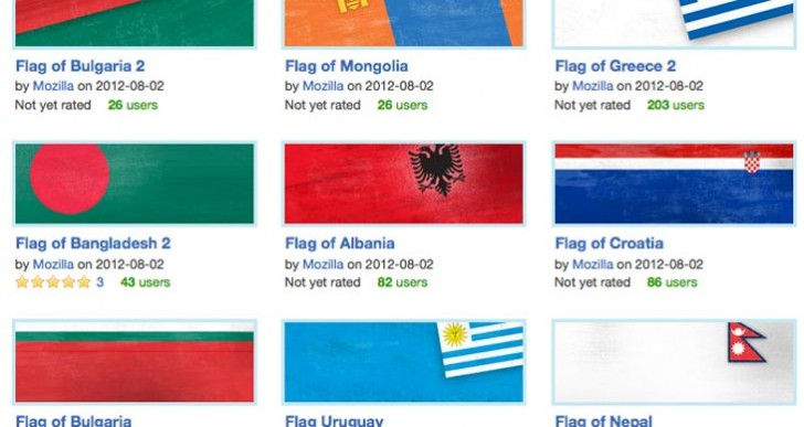 World Cup 2014 flags with Firefox custom theme
