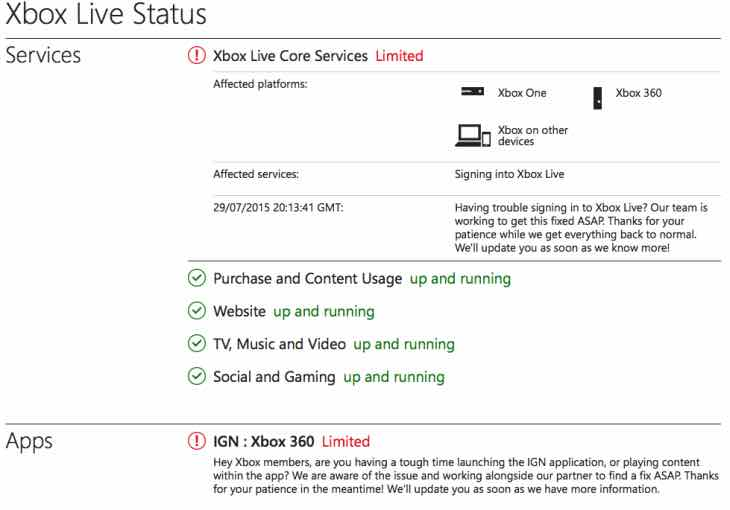 Xbox Live down, core services limited status
