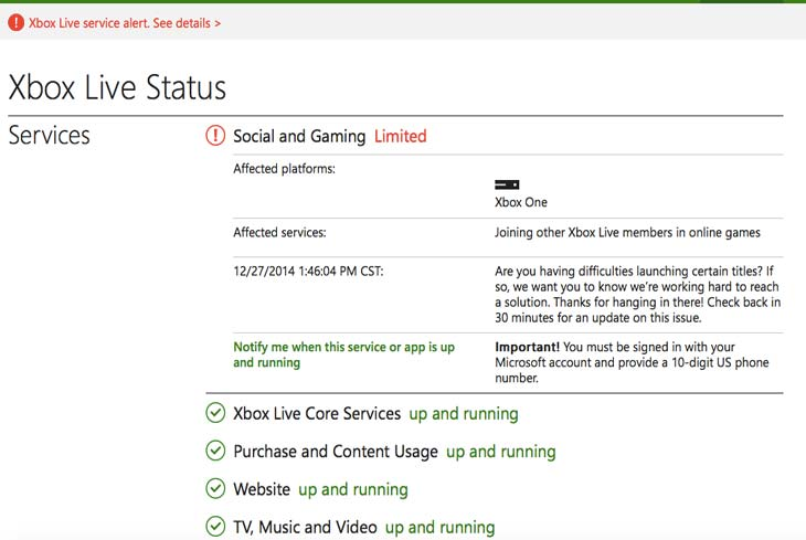 Xbox One Live status with EA down on Dec 27 – Product