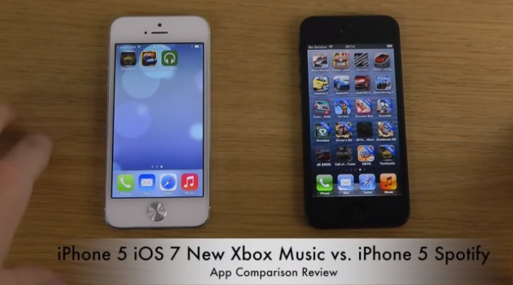 Xbox Music vs. Spotify on iPhone 5 with iOS 7