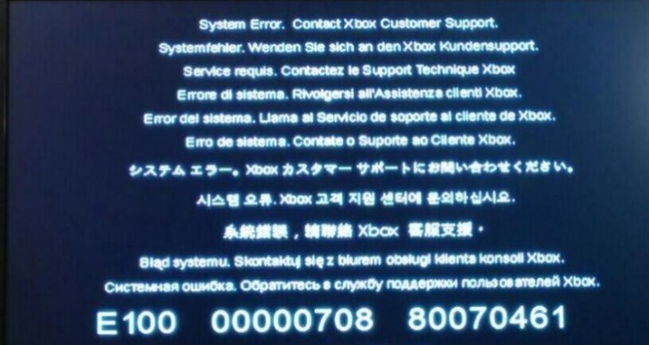 "Xbox One bricked after update with ""E100"" error code"