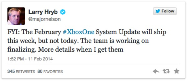 Xbox One update delayed