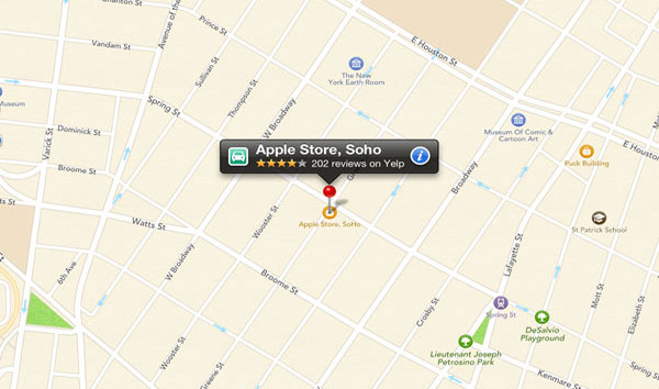 Yelp check-in with new iOS 6 maps