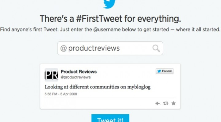 Your first tweet revealed on new website