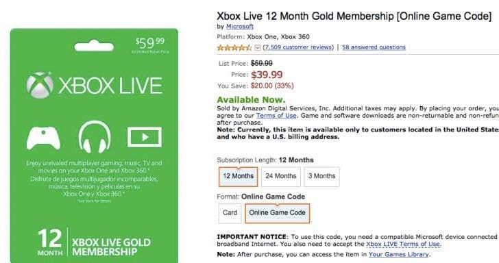Buy Xbox Live Gold membership for low price