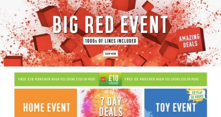 Argos Voucher codes for 2016 Big Red Sale event