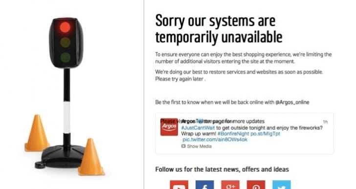 Argos down after Crowd Control countdown timer