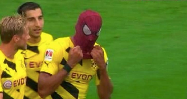 Aubameyang Spiderman for FIFA 15 celebrations